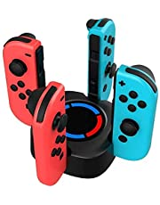 Joy-Con Charging Grip Stand, 4 in 1 Base Dock Charging Station LED Indication Stand, Charger for NS Switch Joy-Con Pro Controller with Free Type C Cable