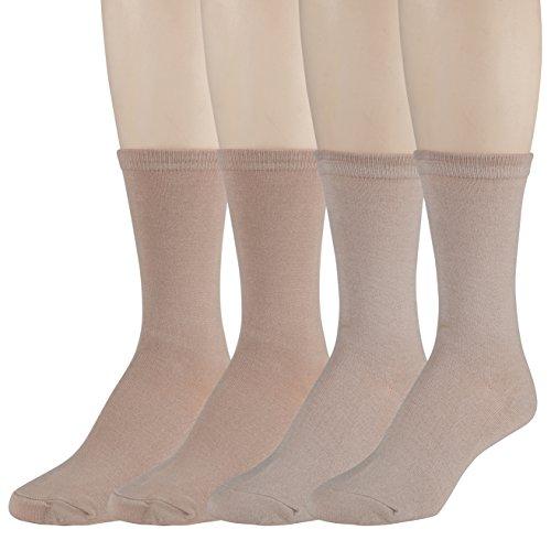 Women's Dress Crew Socks - Lightweight, Soft Mid-Calf – Size 4-10 – by GEORGE (Tan/Beige), Pack of - Underwear For George Women