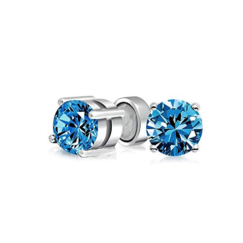 1.25CT Round London Blue CZ Simulated Topaz Magnetic Solitaire Clip On Stud Earrings For Non Pierced 925 Sterling Silver