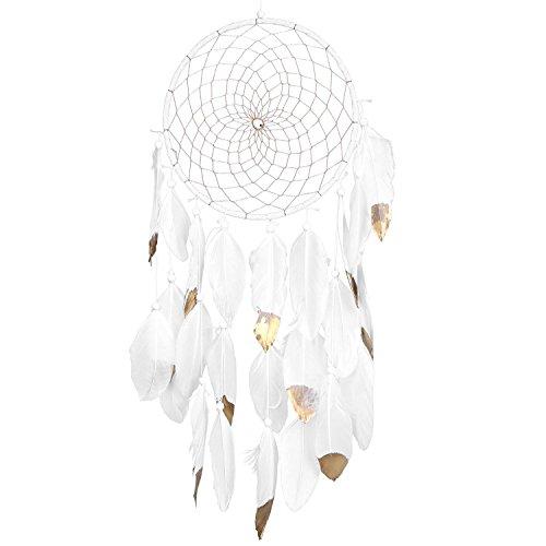 SOLEDI Dream Catcher Golden White Feather 52cm^20cm 1 circle Handmade Traditional Circular Net Indian Home Decor Wall Car Hanging Ornament Gift