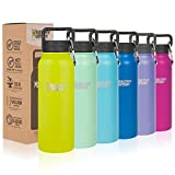 Healthy Human Insulated Water Bottle - Double Walled Sports Vacuum Thermos Wide Mouth Flask. Ideal for Women, Men & Kids - Mojito - 32 oz