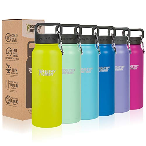 - Healthy Human Classic Collection Stainless Steel Vacuum Insulated Water Bottle   Keeps Cold 24 Hours, Hot 12 Hours   Double Walled Water Bottle   21 oz Mojito
