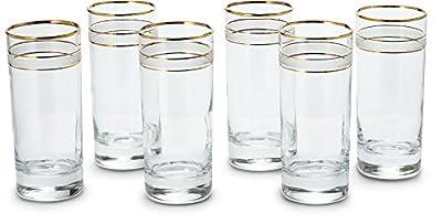 Designer Drinking Glasses - Gold Rimmed