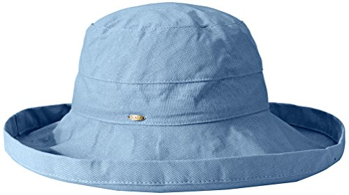 (Scala Women's Cotton Hat with Inner Drawstring and Upf 50+ Rating,Medium Blue,One Size)