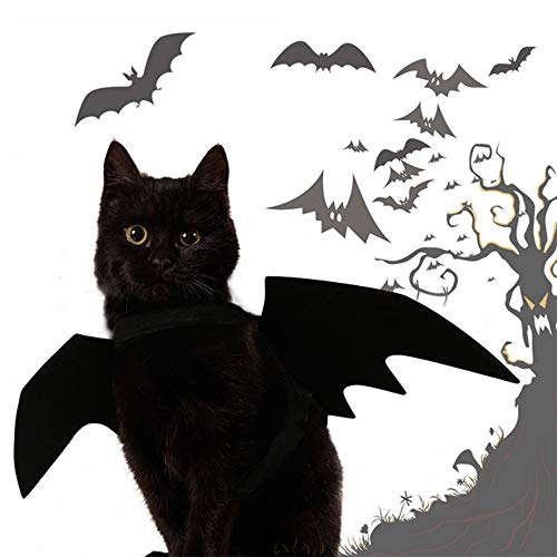 AOLVO Halloween Decoration - 2 PCS Bat Wings Costume,Cat Dog Puppy Cool Bat Wings Cosplay Costume Accessory Small Dog Halloween Costume Halloween Holiday Theme Party