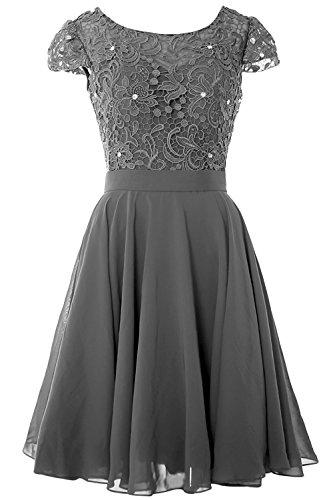 Rüschen Spitze Brautjunfer Kleid Kurz Grau und Damen AbendKleid Abschlussball Chiffon Carnivalprom fwqIY