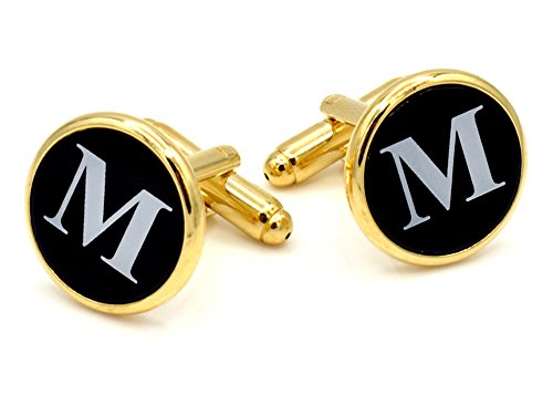 JJ Weston Initial M Engraved on Onyx Cufflinks. Made in the USA. - Engraved Onyx Cufflinks