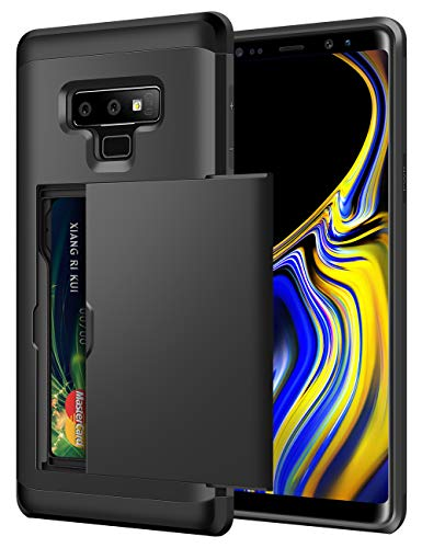Price comparison product image SAMONPOW Galaxy Note 9 Case Hybrid Dual Layer Protective Note 9 Wallet Case Card Holder Shell Anti-Scratch Hard Defender Soft Rubber Bumper Cover Case for Samsung Galaxy Note 9 (2018) - Black