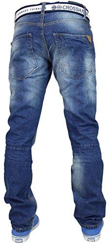 Dritta Jeans Uomo Cotone Gratis Denim Crosshatch Gamba Regular Cintura Di Wash Gamitto Con Marca Mid twAWpqU8