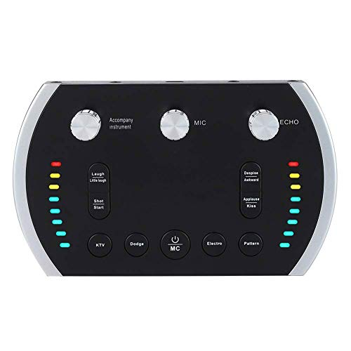 HWZDQLK Portable Digital Mixer Mobile Live Sound Card Voice Changer Instant Online Recording Singing Live Broadcast with Colorful Light, 12 Sounds, 8 Voice Changer]()