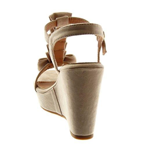 Angkorly Zapatillas Moda Sandalias Mules Correa Correa de Tobillo Plataforma Mujer Nodo Strass con Volante Plataforma 10 cm Beige