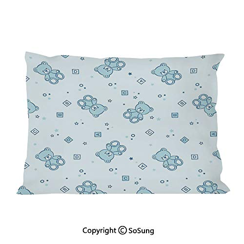 (SoSung Nursery Bed Pillow Case/Shams Set of 2,Teddy Bears and Toys with Letters on Children Imagery Baby Blue Background King Size Without Insert (2 Pack Pillowcase 36