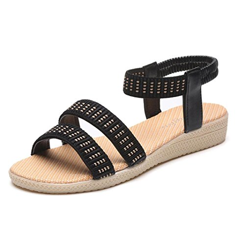 Anboo Women Leisure Sandals,Weave Strap Open-Toe Elasticity Back band Outdoor Beach Flat Shoes Black