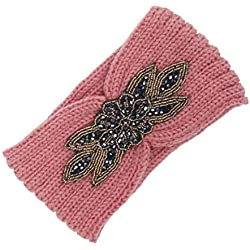 Women Knitting Sport Multifunctional Headband Maple leaf Handmade Diamond Keep Warm Hairband (One Size, Pink)