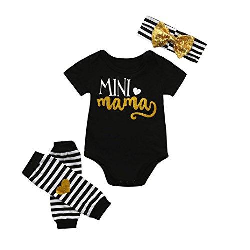 IEason 4Pcs Infant Kids Baby Girls Romper+Leg Warmer+Headband Clothes Outfit Set (0-6 Months, Black)