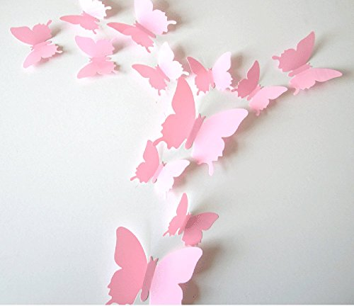 Cute product 12pcs 3d butterfly removable wall decals diy for Stickers para pared decorativos