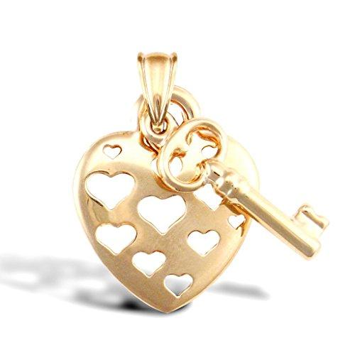 Pendentif cœur en or 9ct avec breloque Clé