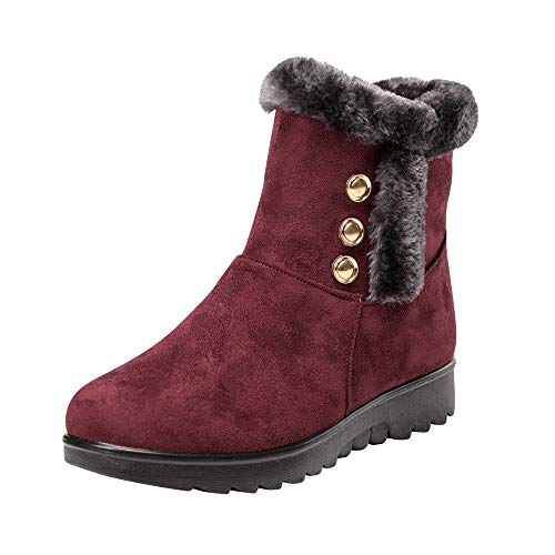 (Fur Booties for Women, Sunyastor Women Boots Slip-On Soft Snow Boots Flat Winter Fur Lined Ankle Boots Shoes)