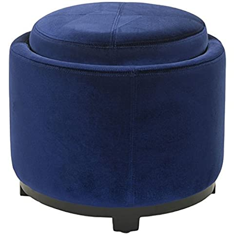 Safavieh Hudson Collection Bowery Royal Blue Tray Ottoman, Round (Round Tray For Ottoman)