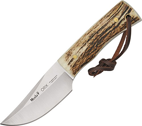 Muela ORIX 8A Genuine Stag Antler Handle Skinning Knife with Leather Sheath