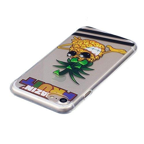 iPhone 7 Coque Ananas frais Premium Gel TPU Souple Silicone Transparent Clair Bumper Protection Housse Arrière Étui Pour Apple iPhone 7 + Deux cadeau