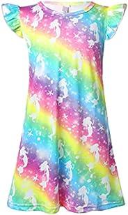 Jowowha Kids Girls Colorful Print Sleeveless Night Dress Princess Girls Cotton Rainbow Sleepwear Nightgown