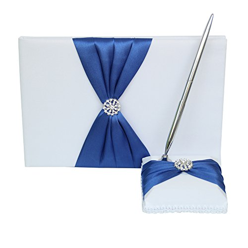 - Toaroa Guest Book and Pen Set Holder with Pen, Hardcover with Satin Ribbon Bow and Rhinestone Signs for Rustic Wedding Ceremony Party Favor-Dark Blue, 72 Pages