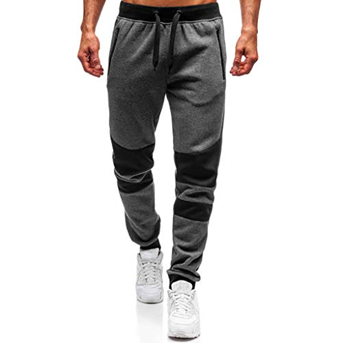 ANJUNIE Men Splicing Printed Joggers with Pocket Sport Work Activewear Cotton Trouser Pants(3-Dark Gray,XXL)