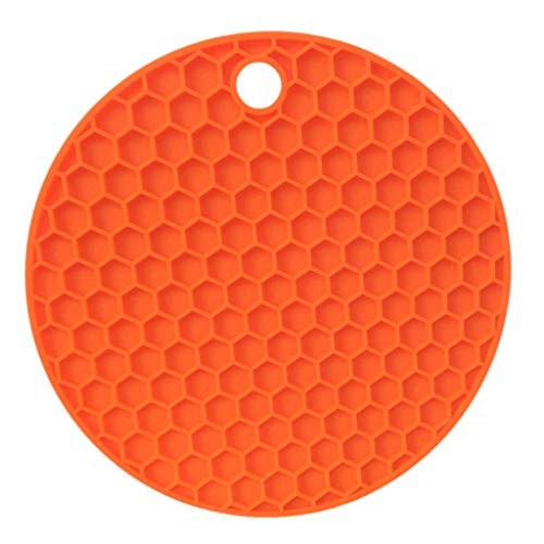 YunZyun Honeycomb Heat Insulation Placemat Multifunctional Silicone Table Bowl Mat for Home Kitchen (Orange)