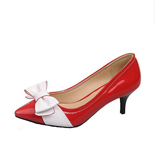 AllhqFashion Womens Pointed Closed Toe PU Assorted Color Kitten Heels Pumps-Shoes With Bowknot, Red, 38