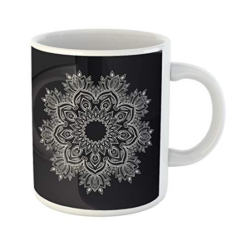 Semtomn Funny Coffee Mug Geometric Abstract Mandala Oriental Round Pattern Coloring Book Antistress 11 Oz Ceramic Coffee Mugs Tea Cup Best Gift Or Souvenir ()