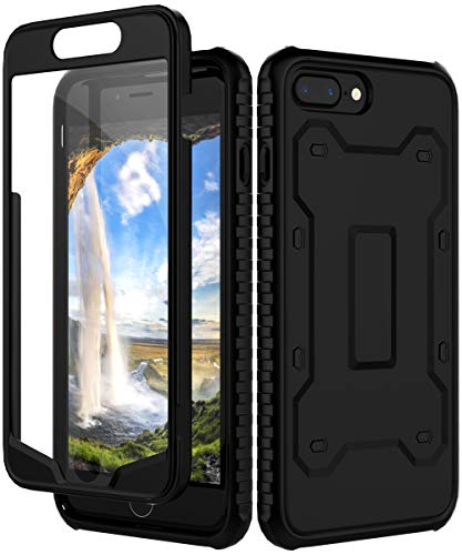 AugeCase iPhone 7 Plus Case, iPhone 8 Plus Case,Shockproof Full Ultra Protective Anti-Scratch Built in Plastic Screen Protector Slim Case For iPhone 7 Plus/iPhone 8 Plus,Black
