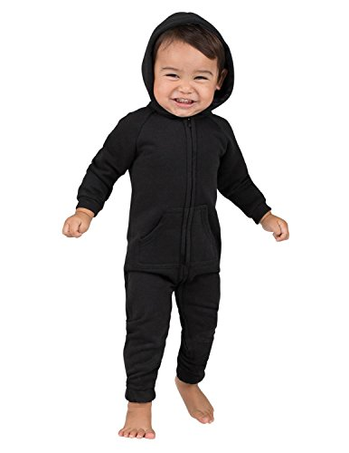 Joggies - - Pitch Black Infant Footless Hoodie Onesie - Medium -