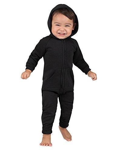 Joggies - Pitch Black Infant Footless Hoodie Onesie - Medium ()