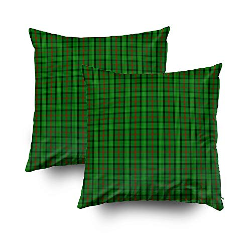 TOMWISH 2 Packs Hidden Zippered Pillowcase Clan Ross Tartan 16X16Inch,Decorative Throw Custom Cotton Pillow Case Cushion Cover for Home
