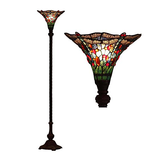 Bieye L10573 14-inches Dragonfly Tiffany Style Stained Glass Torchiere Floor Lamp