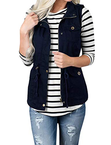 SCX Women Sleeveless Solid Color Lightweight Sleeveless Military Tie Zip Front Drawstring Jacket Vest