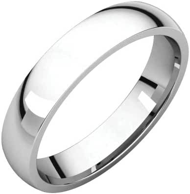 Platinum 4mm Light Comfort Fit Band, Ring Size 4.5