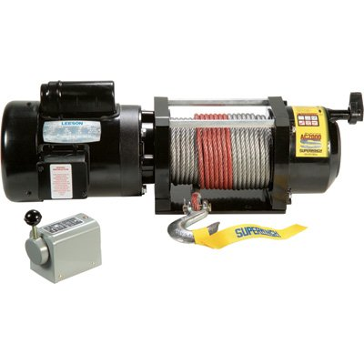 Superwinch 1723 AC 2000 115VAC with switch & 100' of 5/16' wire rope, 60 Hz