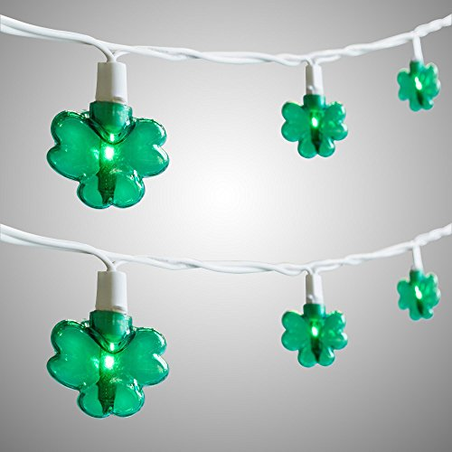 Green Shamrocks St Patrick's Day String Lights, Set of 20