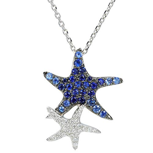 Unique 18k platinum starfish diamond necklace set with natural sapphire exquisite collarbone chain genuine diamond pendant birthday gift present necklace for women