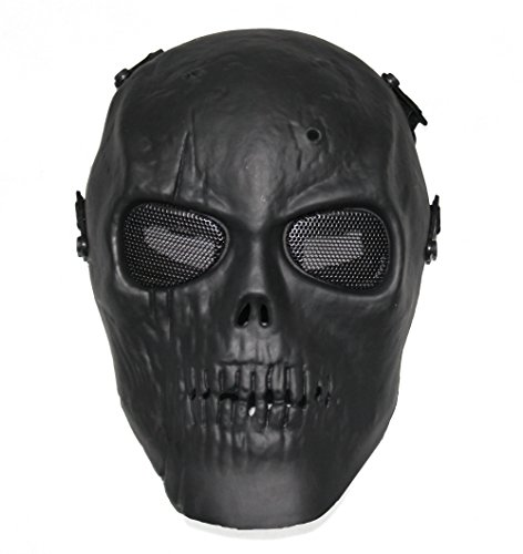 Huamost Black Army Outdoor Master Skull Skeleton Airsoft/Paintball/BB Gun/CS Full Face Protect Mask ,Cryptic Cadavers Skull And' Bone ()