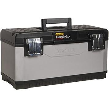 Stanley FatMax Werkzeugbox / Werkzeugkoffer (26', 66x29x30cm, herausnehmbare Trage, stabiler Koffer mit Aussparung, Werkzeugkasten mit Bi-Material Griff und FatMax-Logo) 1-95-617 BLAMT
