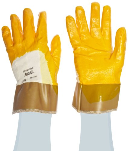 Cotton Gloves Ansell (Ansell Metalist 28-407 Kevlar/Cotton Glove, Cut Resistant, Golden Yellow Nitrile Coating, Safety Cuff, Medium, Size 8 (Pack of 12))