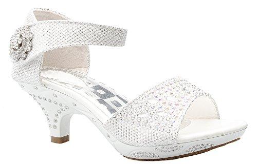 OLIVIA K Girls Sparkly Rhinestone Kitten Heel Platform Dress Sandals (Toddler/ Little Girl) by OLIVIA K