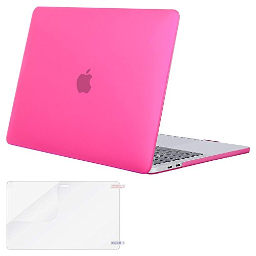 MOSISO MacBook Pro 13 Case 2018 2017 2016 Release A1989/A1706/A1708, Plastic Hard Shell Cover with Screen Protector Compatible Newest MacBook Pro 13 Inch with/Without Touch Bar, Rose Red