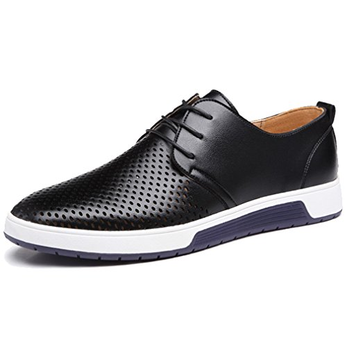 Casual Shoes Men Flat (XMWEALTHY Men's British Style Breathable Flat Dress Shoes Black US 10.5)
