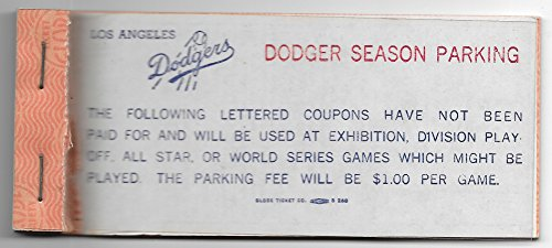 1975 Los Angeles Dodgers Season Parking Booklet With Unused Passes
