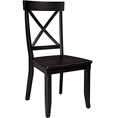 Classic Black Pair of Dining Chairs by Home Styles - Dining chair is made of a solid hardwood This chair reflect a country/cottagestyle with cross back design Easy to assemble - kitchen-dining-room-furniture, kitchen-dining-room, kitchen-dining-room-chairs - 41imhXi48pL. SS400  -