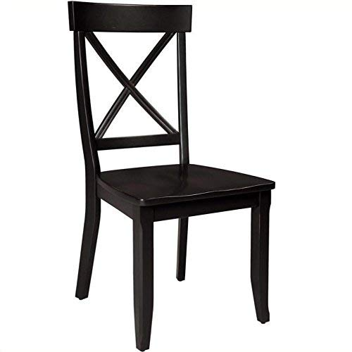 Black Wood Dining Room Chairs - Classic Black Pair of Dining Chairs by Home Styles